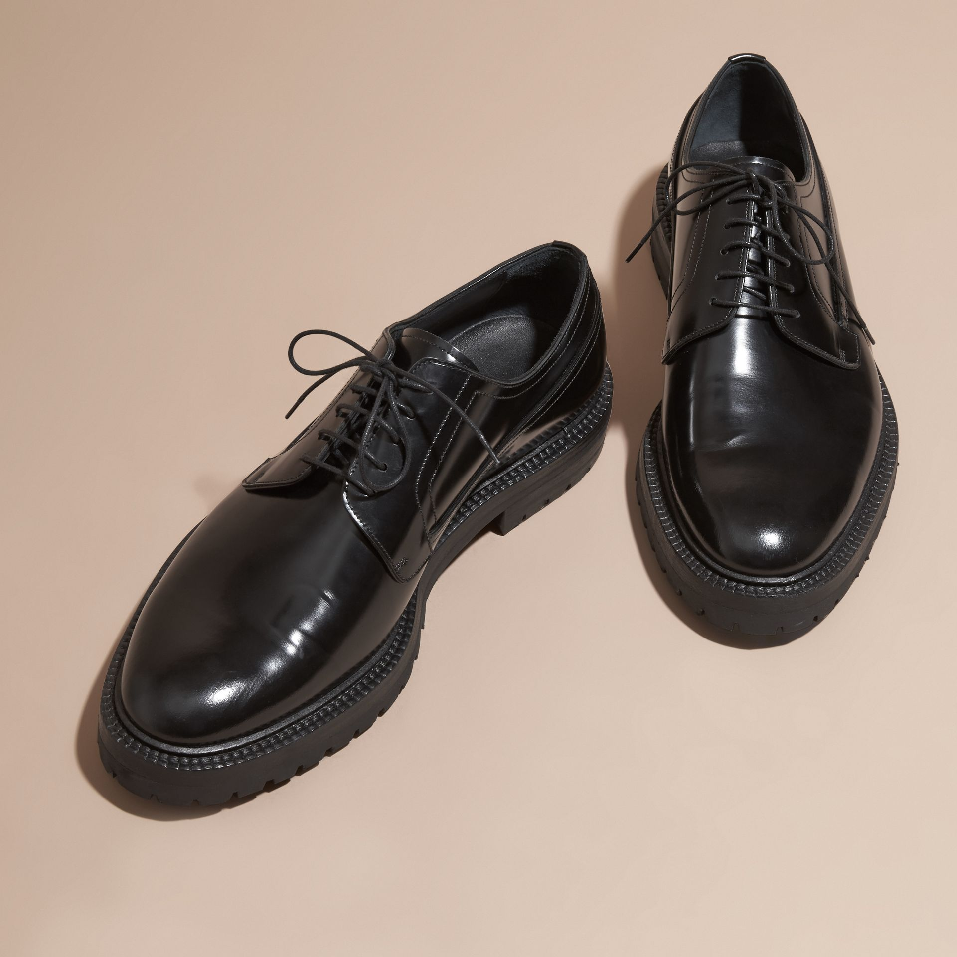Black Leather Derby Shoes - gallery image 3