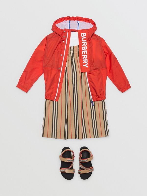 Logo Print Lightweight Hooded Jacket in Orange Red | Burberry - cell image 3