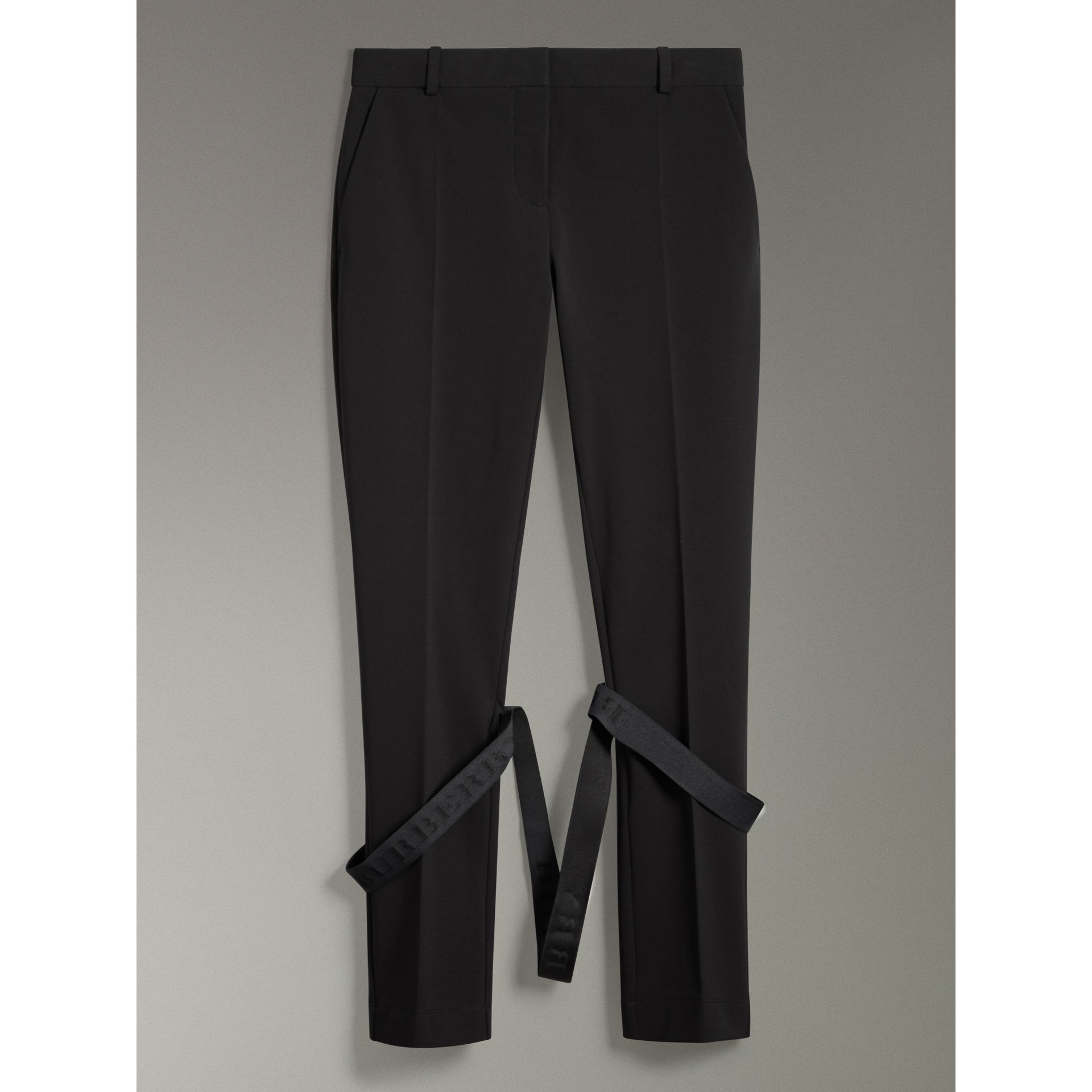 Strap Detail Jersey Tailored Trousers in Black - Women | Burberry Canada - gallery image 3