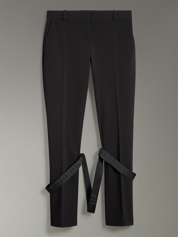 Strap Detail Jersey Tailored Trousers in Black - Women | Burberry - cell image 3
