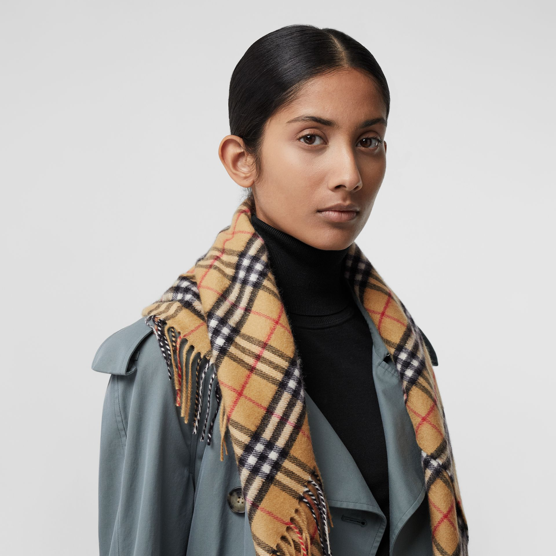 The Burberry Bandana in Vintage Check Cashmere in Antique Yellow | Burberry - gallery image 6