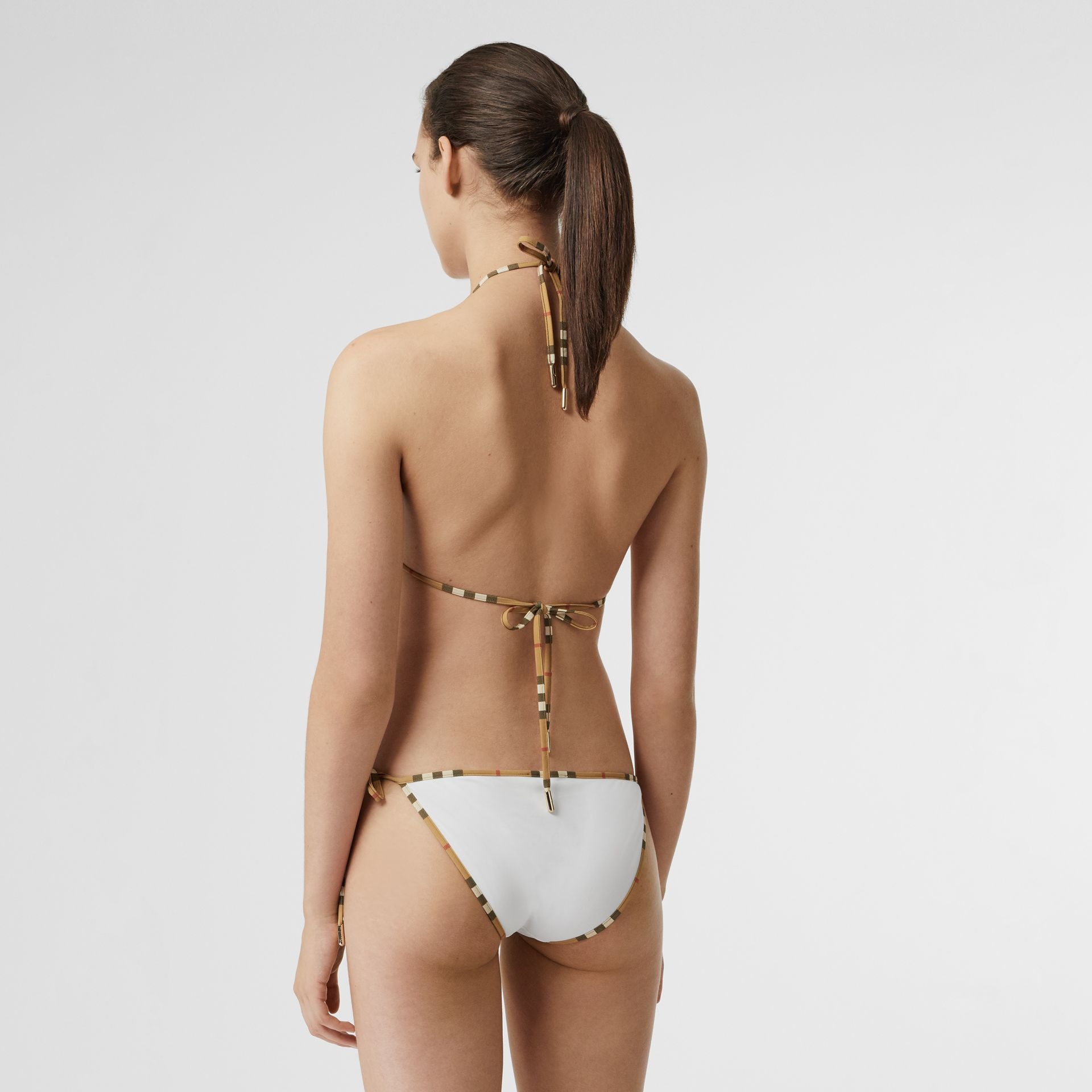 Vintage Check Trim Triangle Bikini in White - Women | Burberry Canada - gallery image 1