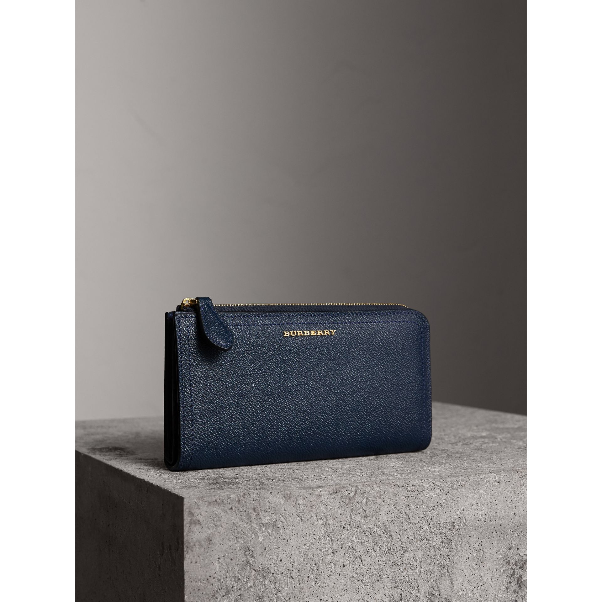 Grainy Leather Ziparound Wallet in Blue Carbon - Women | Burberry - gallery image 0