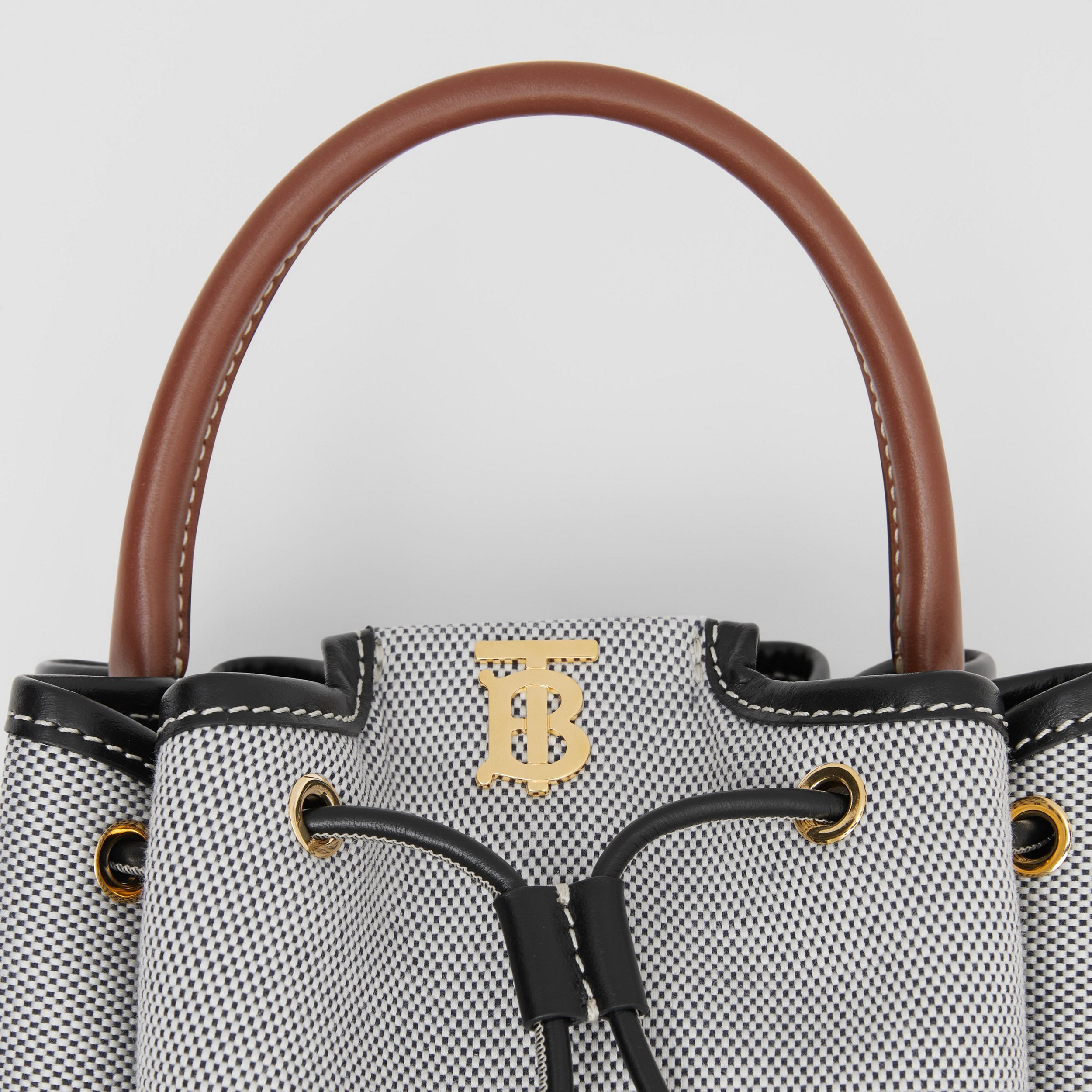 Monogram Motif Canvas and Leather Bucket Bag in Black - Women | Burberry - 2