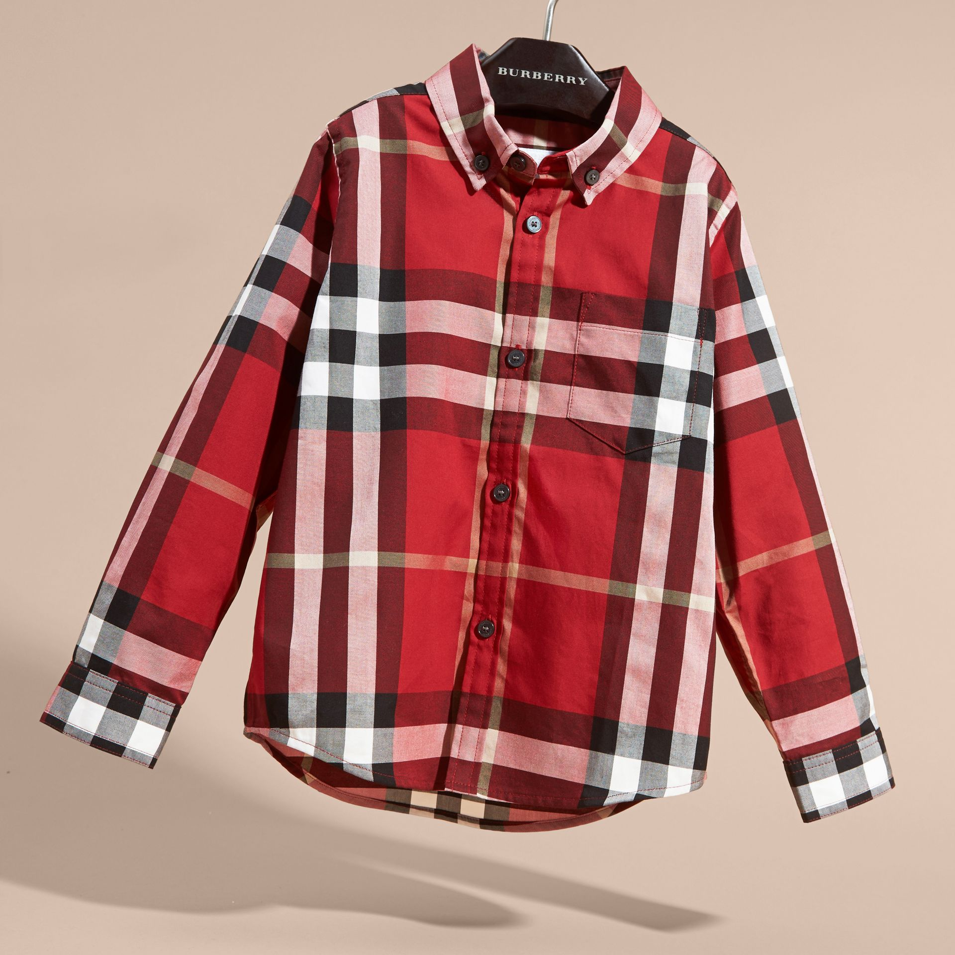 Check Cotton Button-Down Shirt in Parade Red - Boy | Burberry Hong Kong - gallery image 3