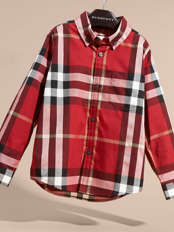 Check Cotton Button-Down Shirt in Parade Red - cell image 2