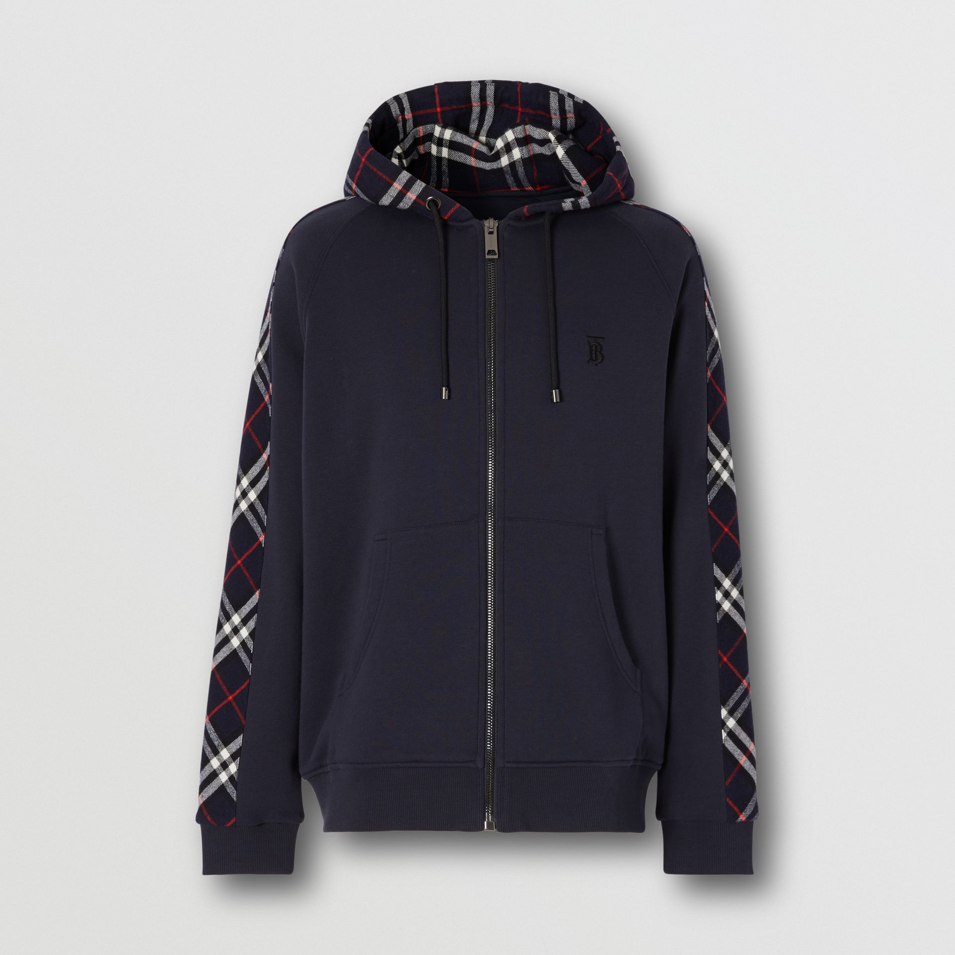 Vintage Check Panel Cotton Hooded Top in Navy - Men | Burberry United Kingdom - gallery image 3