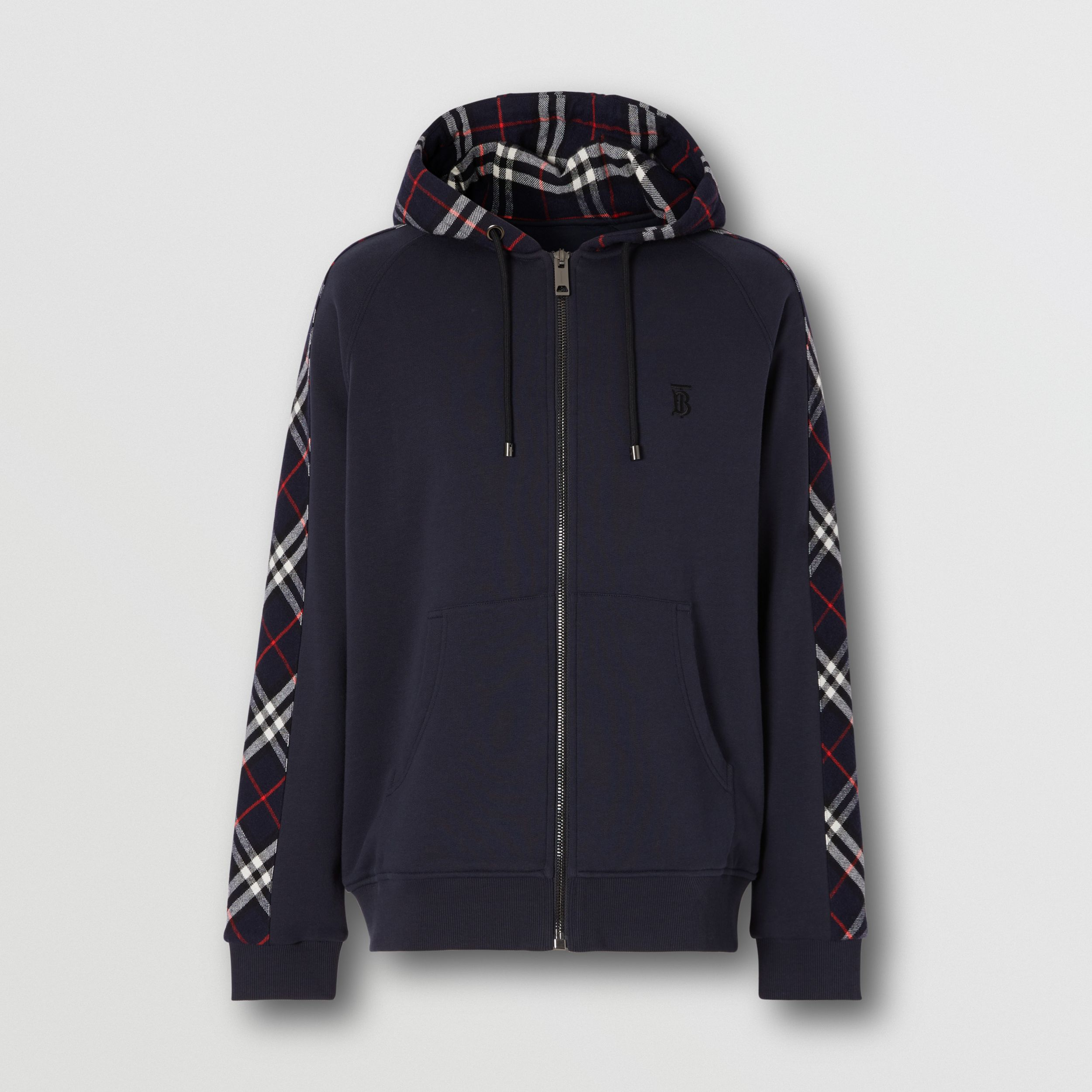 Vintage Check Panel Cotton Hooded Top in Navy - Men | Burberry - 4