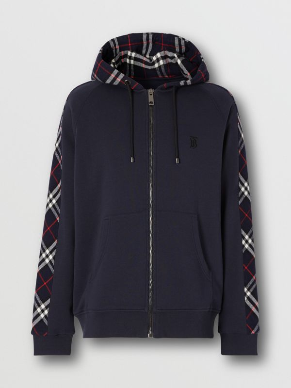 Vintage Check Panel Cotton Hooded Top in Navy - Men | Burberry United Kingdom - cell image 3