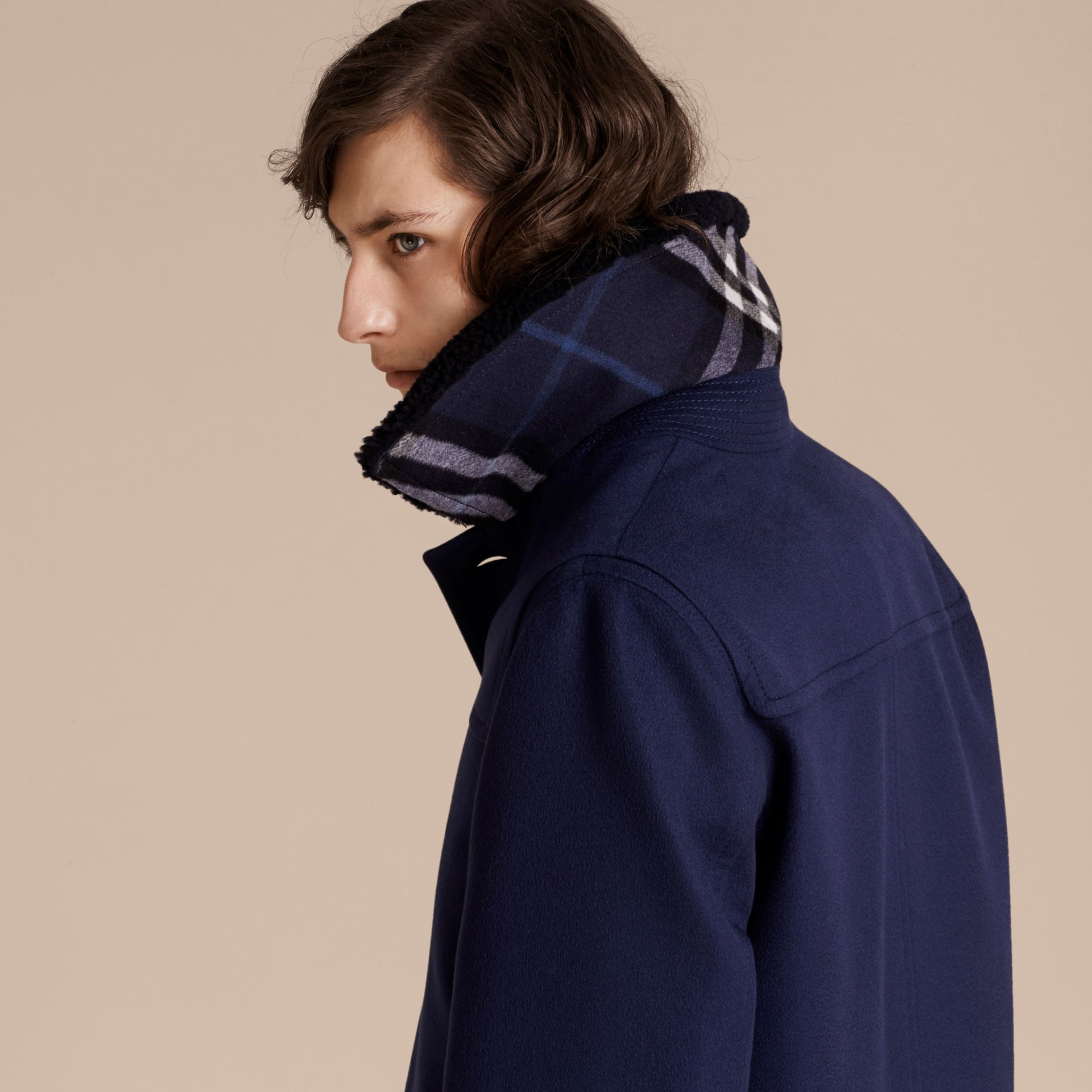 Blueberry Cashmere Donkey Jacket with Detachable Shearling Collar - gallery image 5
