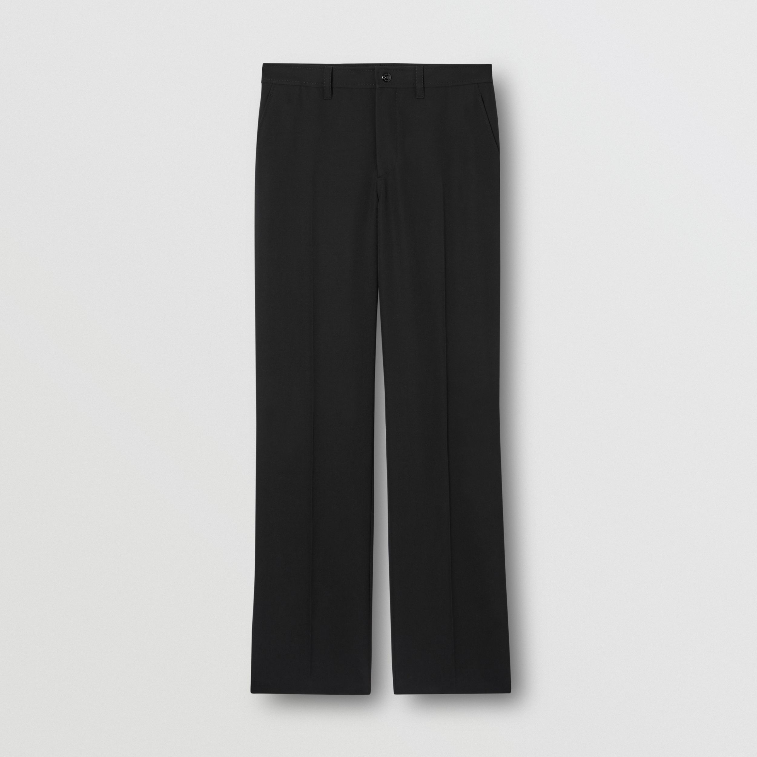 Cut-out Back Mohair Wool Wide-leg Trousers in Black - Men | Burberry - 4