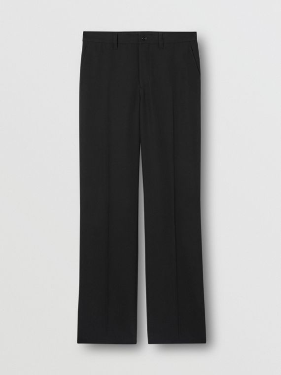 Cut-out Back Mohair Wool Wide-leg Trousers in Black