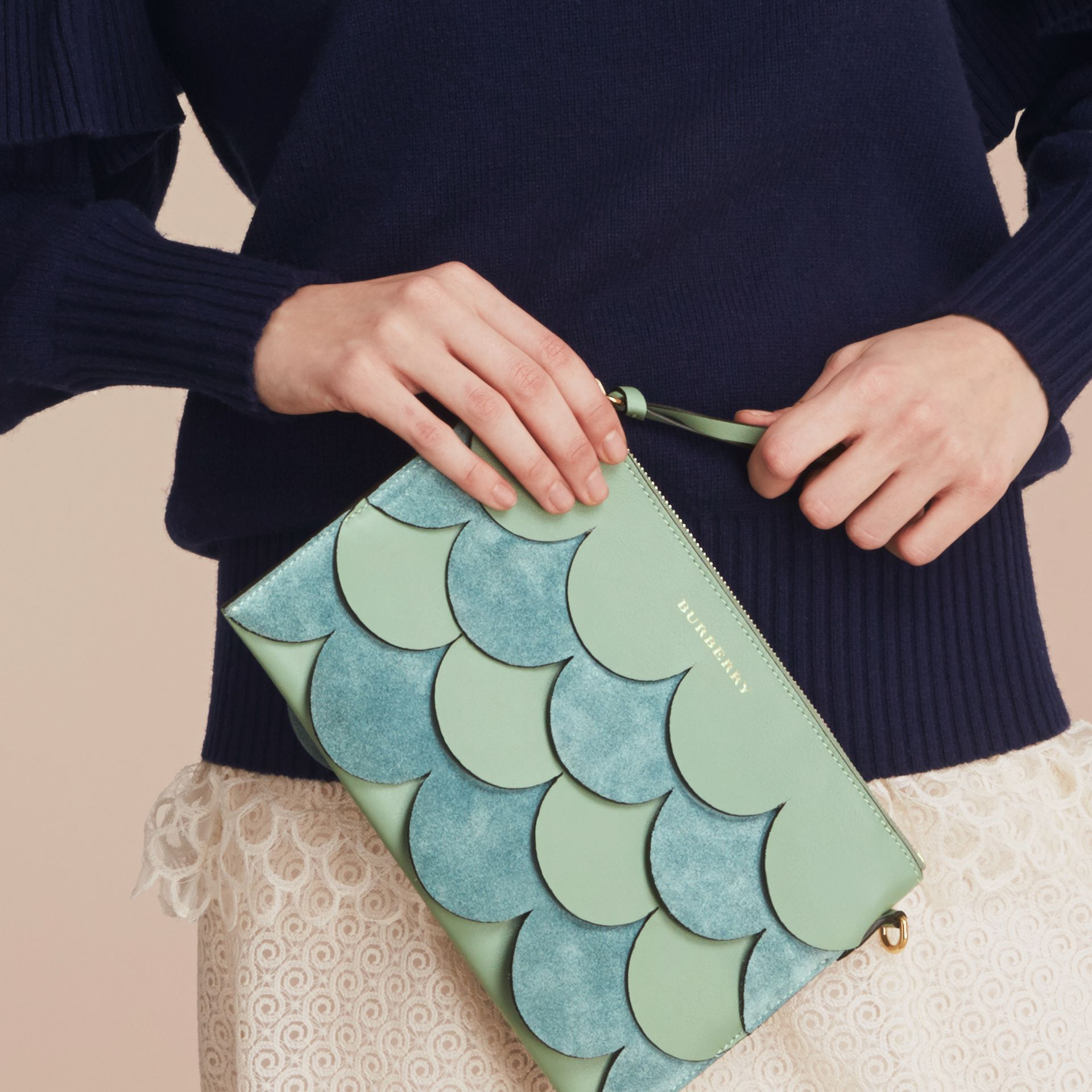 Two-tone Scalloped Leather and Suede Clutch Bag in Celadon Green - Women | Burberry Singapore - gallery image 4