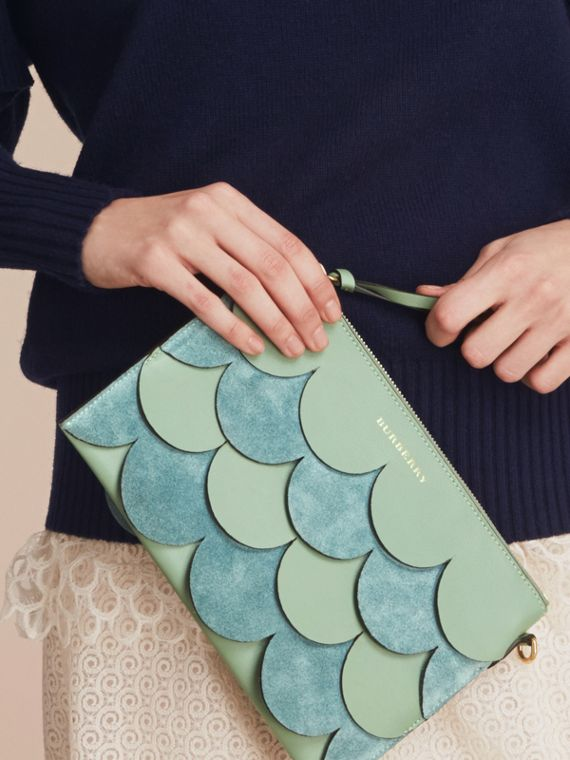 Two-tone Scalloped Leather and Suede Clutch Bag in Celadon Green - Women | Burberry - cell image 3