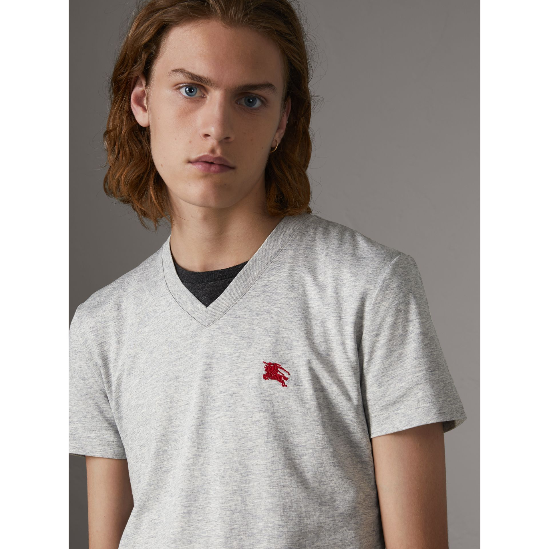 Cotton V-neck T-shirt in Pale Grey Melange - Men | Burberry - gallery image 1