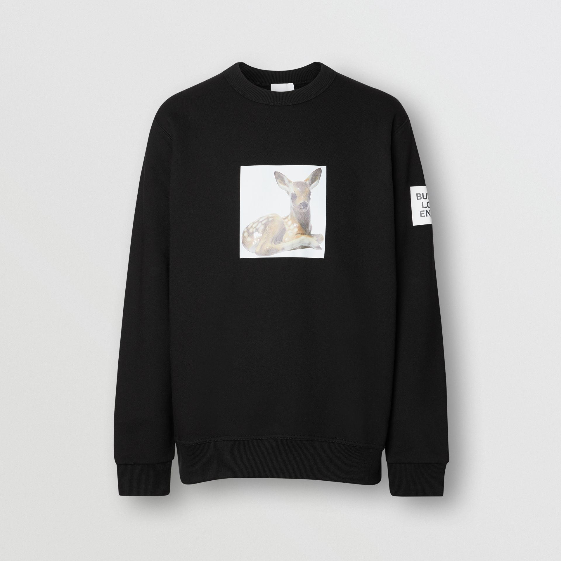 Deer Print Cotton Sweatshirt in Black - Men | Burberry Australia - gallery image 3