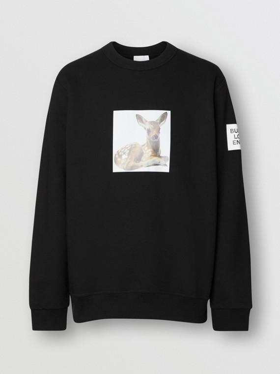 Deer Print Cotton Sweatshirt in Black