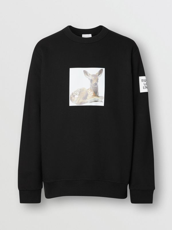 Deer Print Cotton Sweatshirt in Black - Men | Burberry Singapore - cell image 3