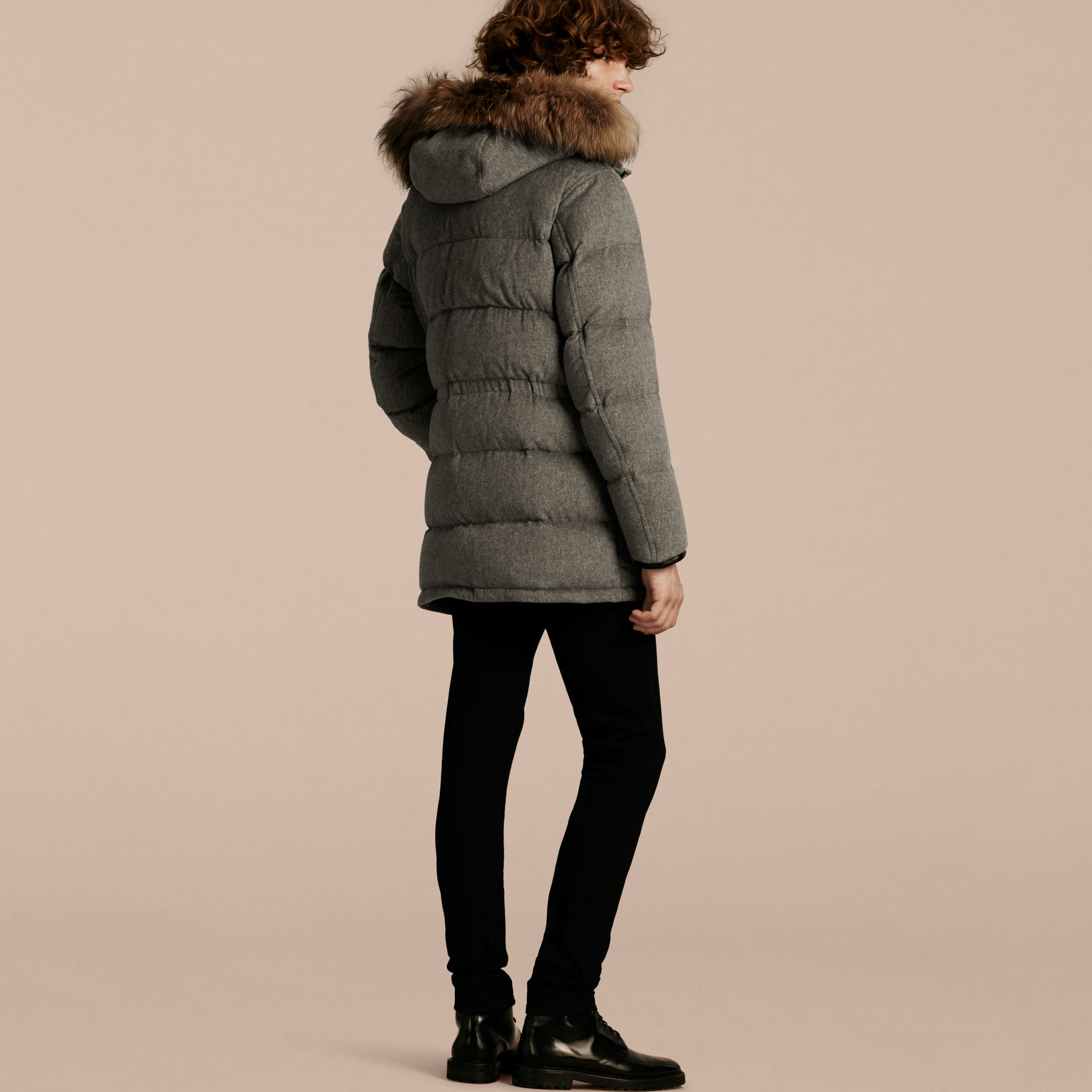 Down-filled Cashmere Parka with Detachable Fur Trim in Mid Grey Melange - gallery image 3