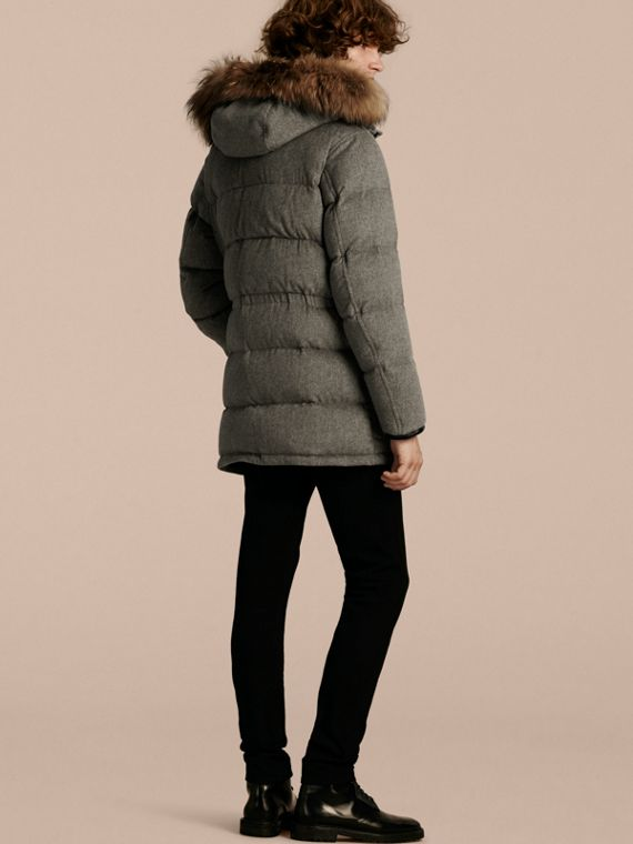 Down-filled Cashmere Parka with Detachable Fur Trim in Mid Grey Melange - cell image 2