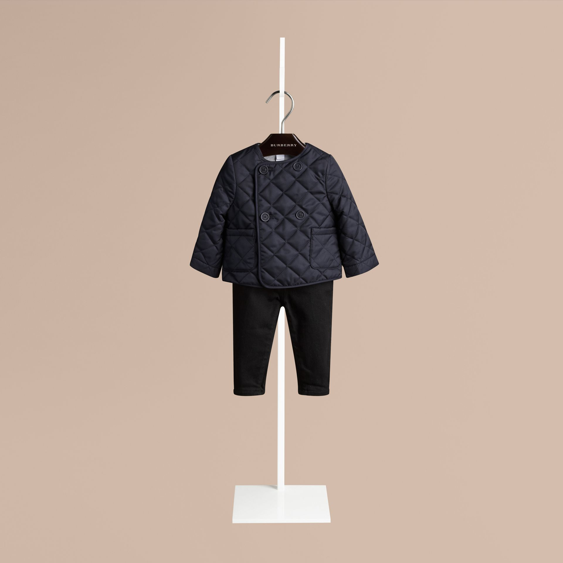 Navy Collarless Diamond Quilted Jacket Navy - gallery image 1