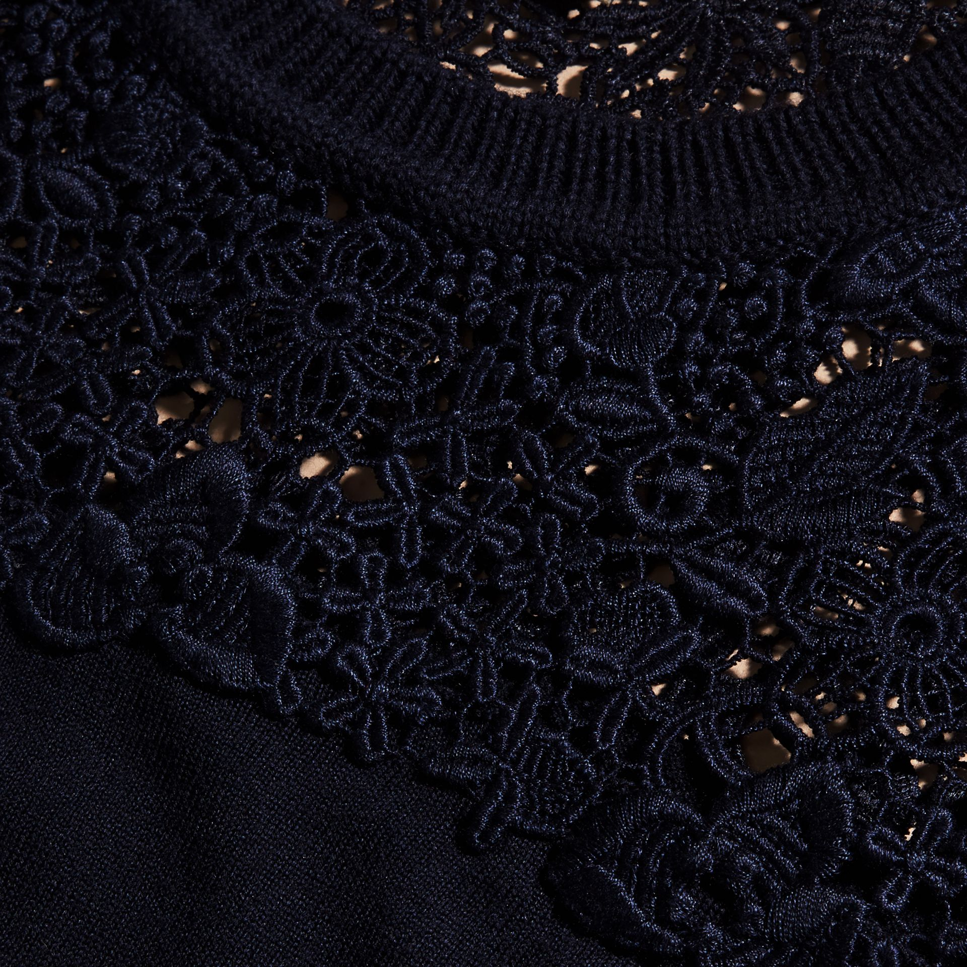 Navy Lace Yoke Merino Wool Sweater Navy - gallery image 2