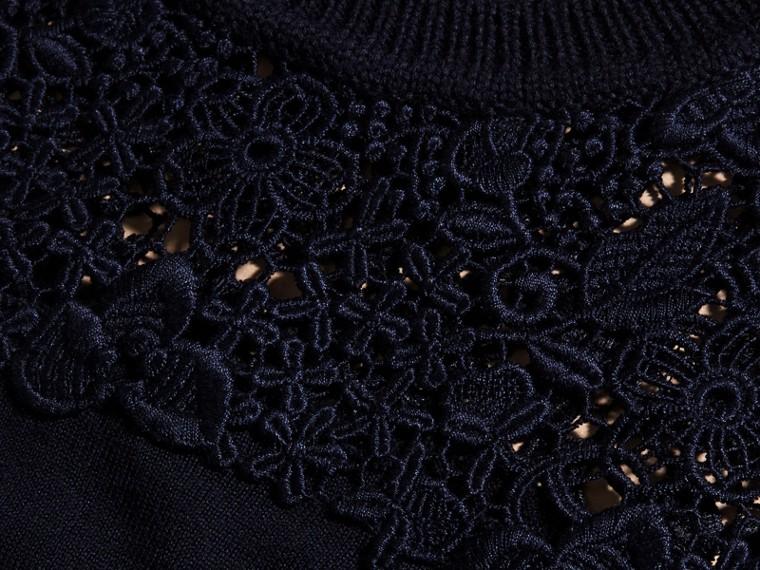 Navy Lace Yoke Merino Wool Sweater Navy - cell image 1