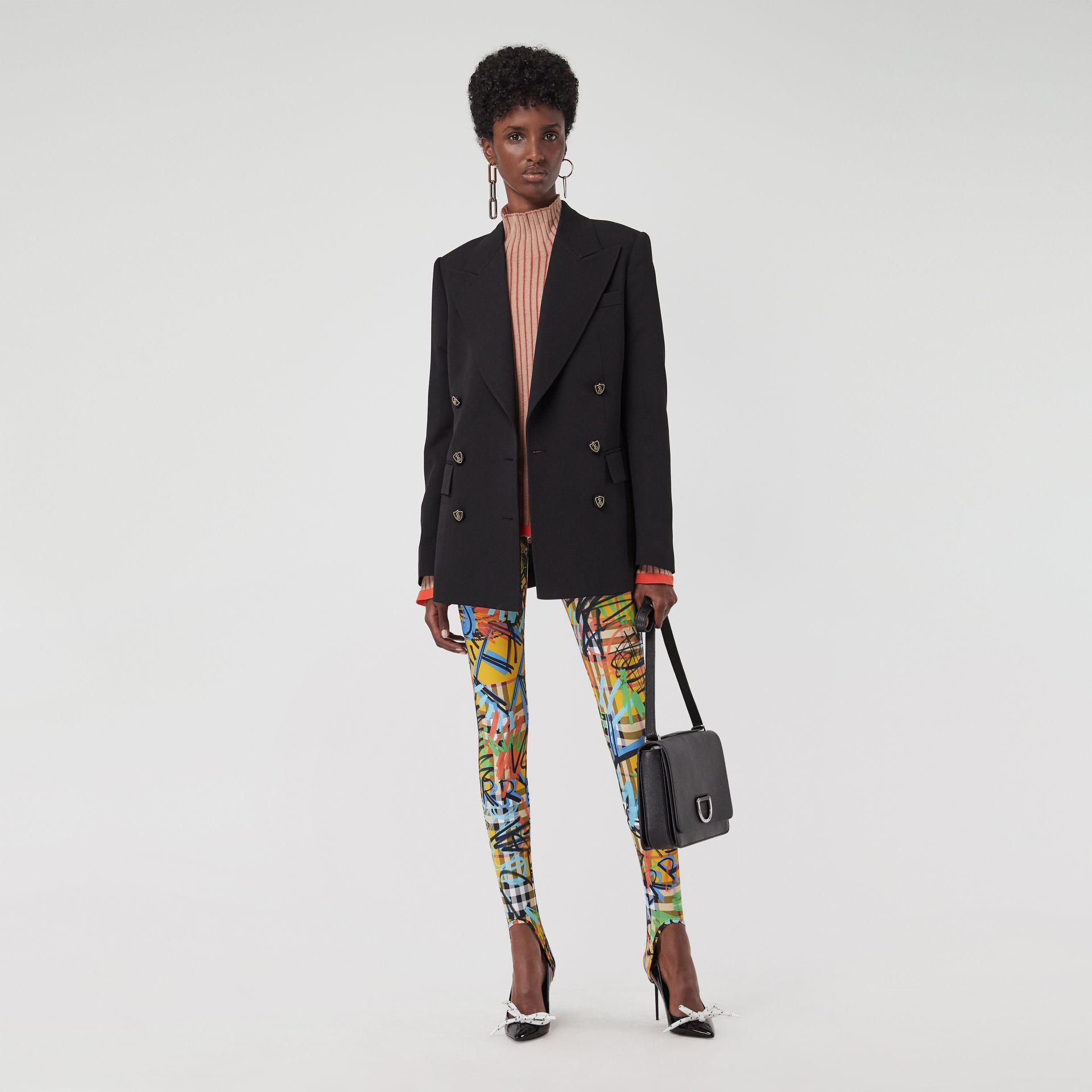 Graffiti Print Vintage Check Leggings in Amber Yellow - Women | Burberry Singapore - gallery image 0