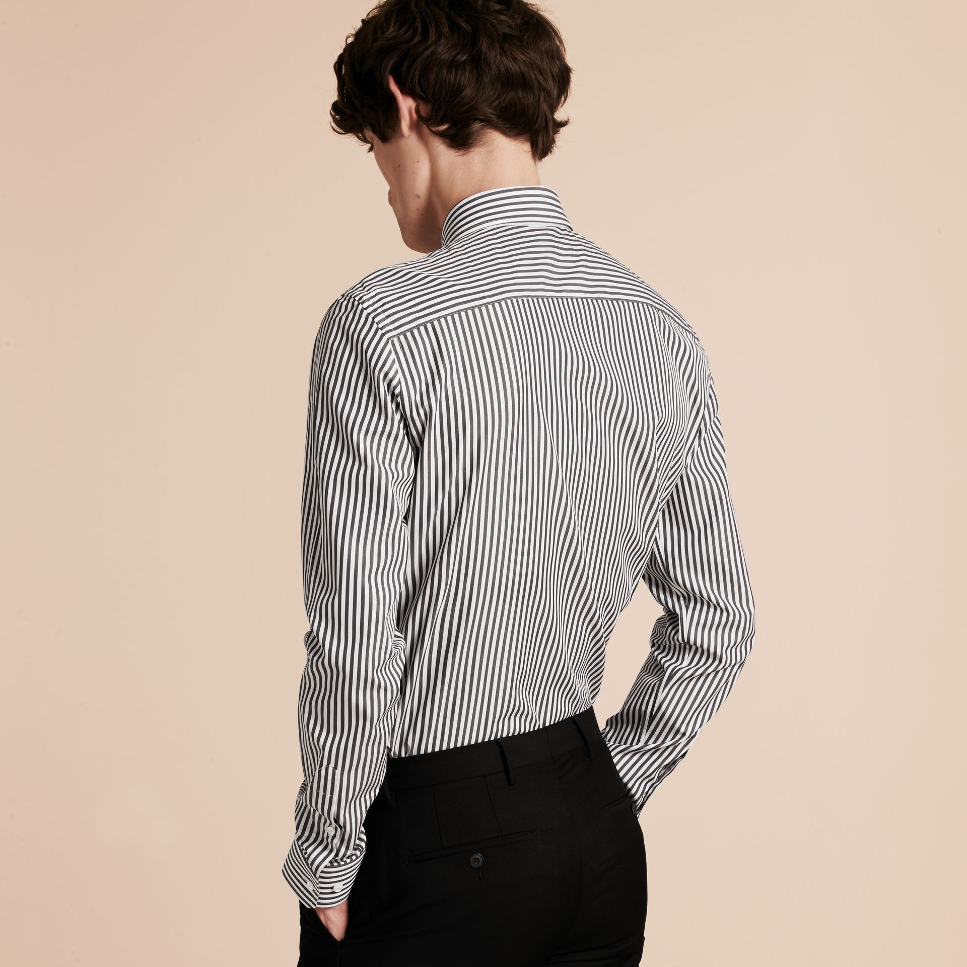 Charcoal Slim Fit Striped Cotton Poplin Shirt Charcoal - gallery image 3