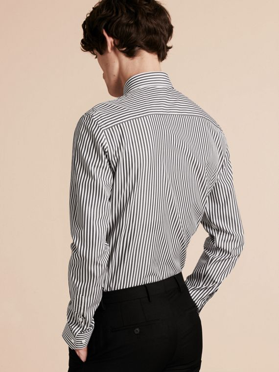 Charcoal Slim Fit Striped Cotton Poplin Shirt Charcoal - cell image 2