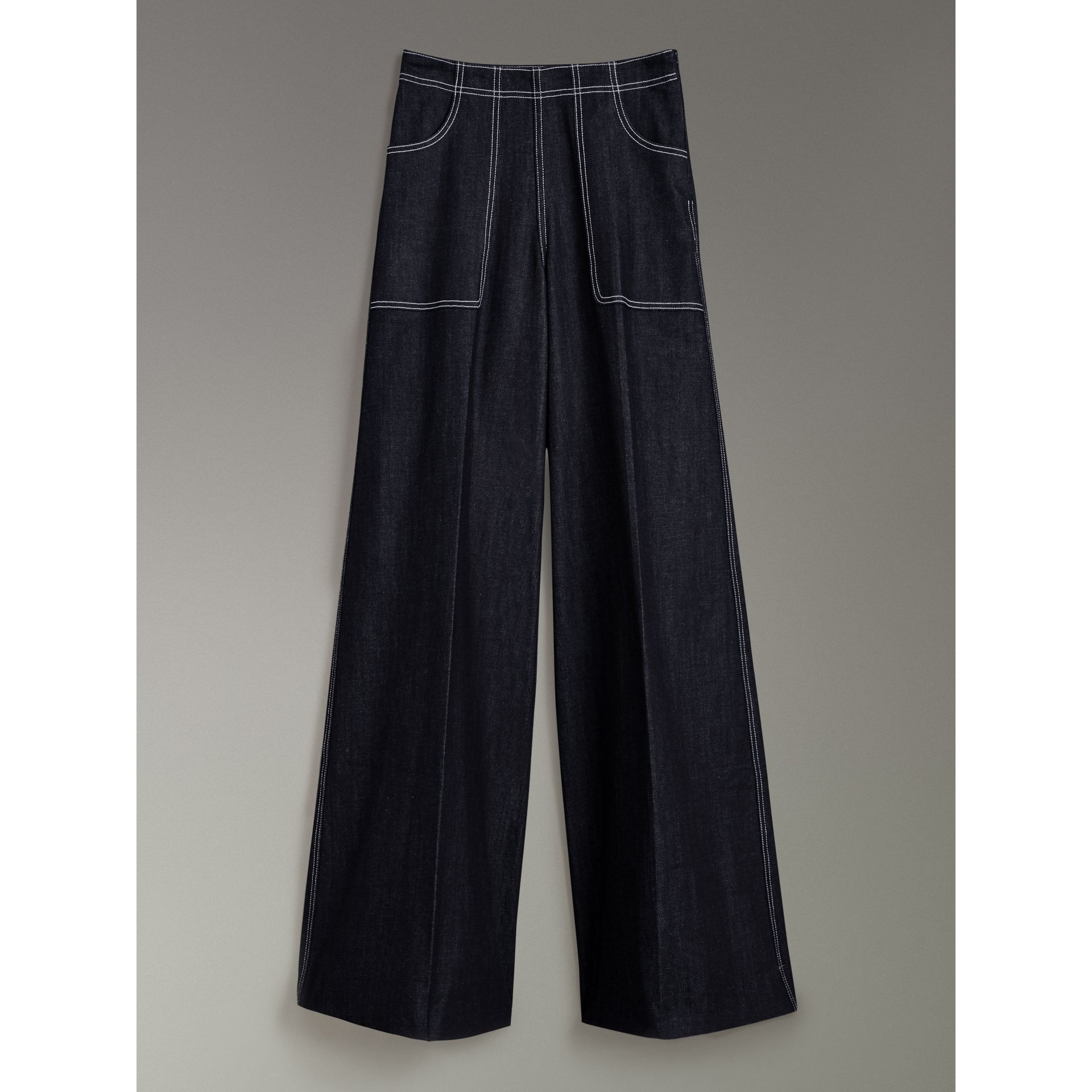 Stretch Japanese Denim Wide-leg Jeans in Steel Blue - Women | Burberry United Kingdom - gallery image 3