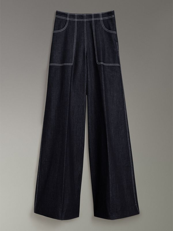 Stretch Japanese Denim Wide-leg Jeans in Steel Blue - Women | Burberry Canada - cell image 3