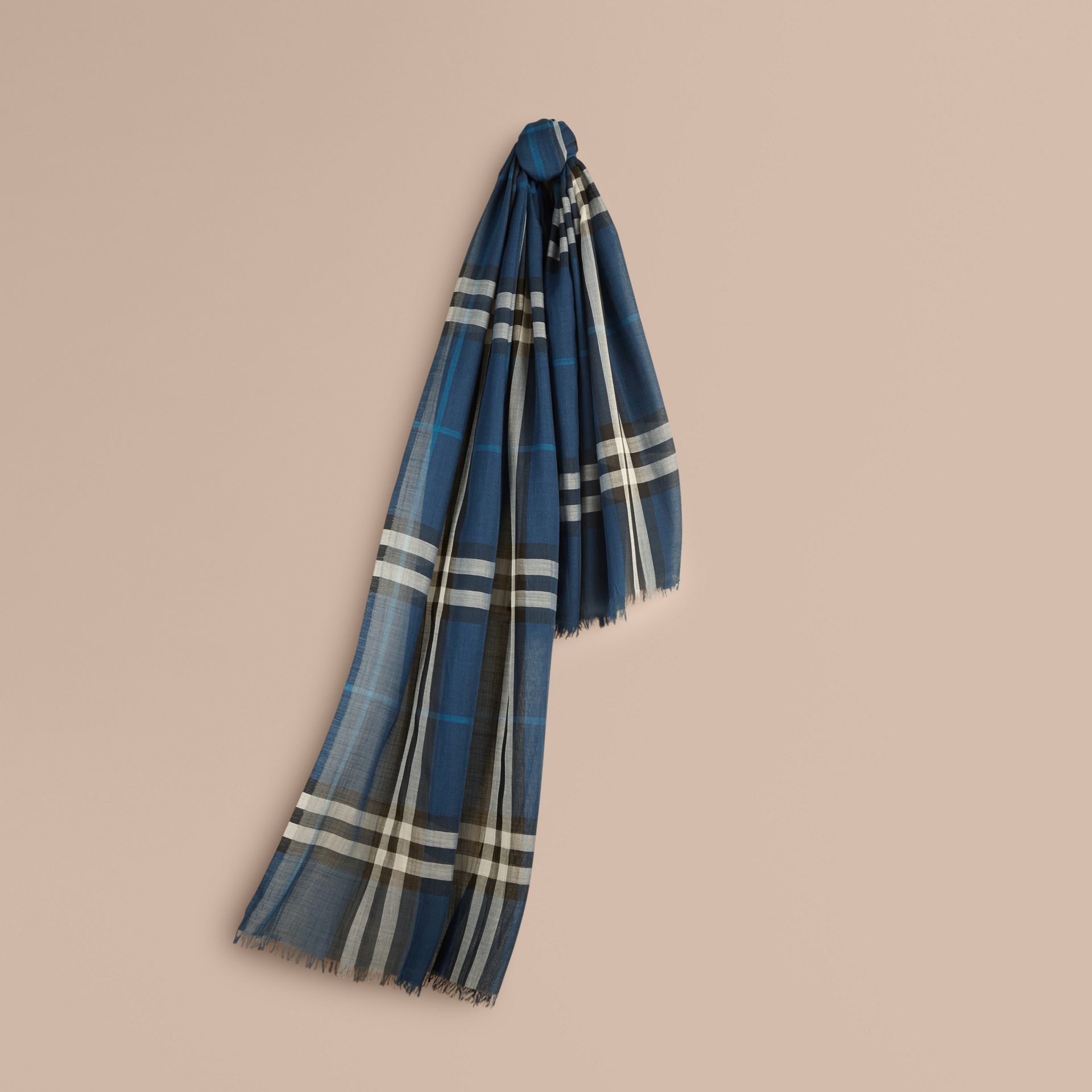 Marine blue Lightweight Check Wool and Silk Scarf Marine Blue - gallery image 1