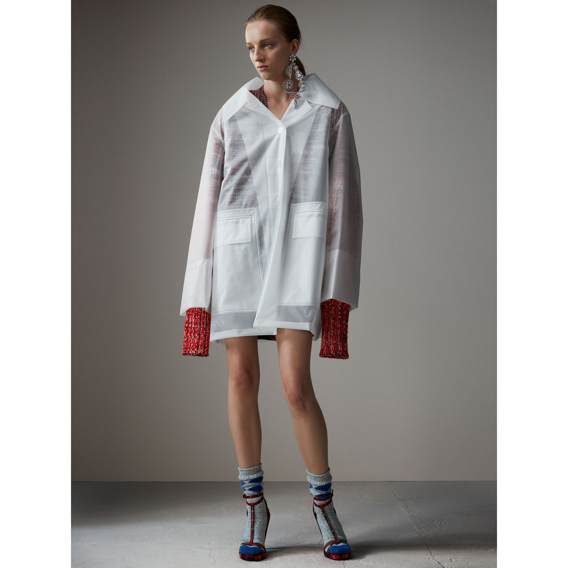 Soft-touch Plastic Oversized Car Coat in White - Women | Burberry - gallery image 6