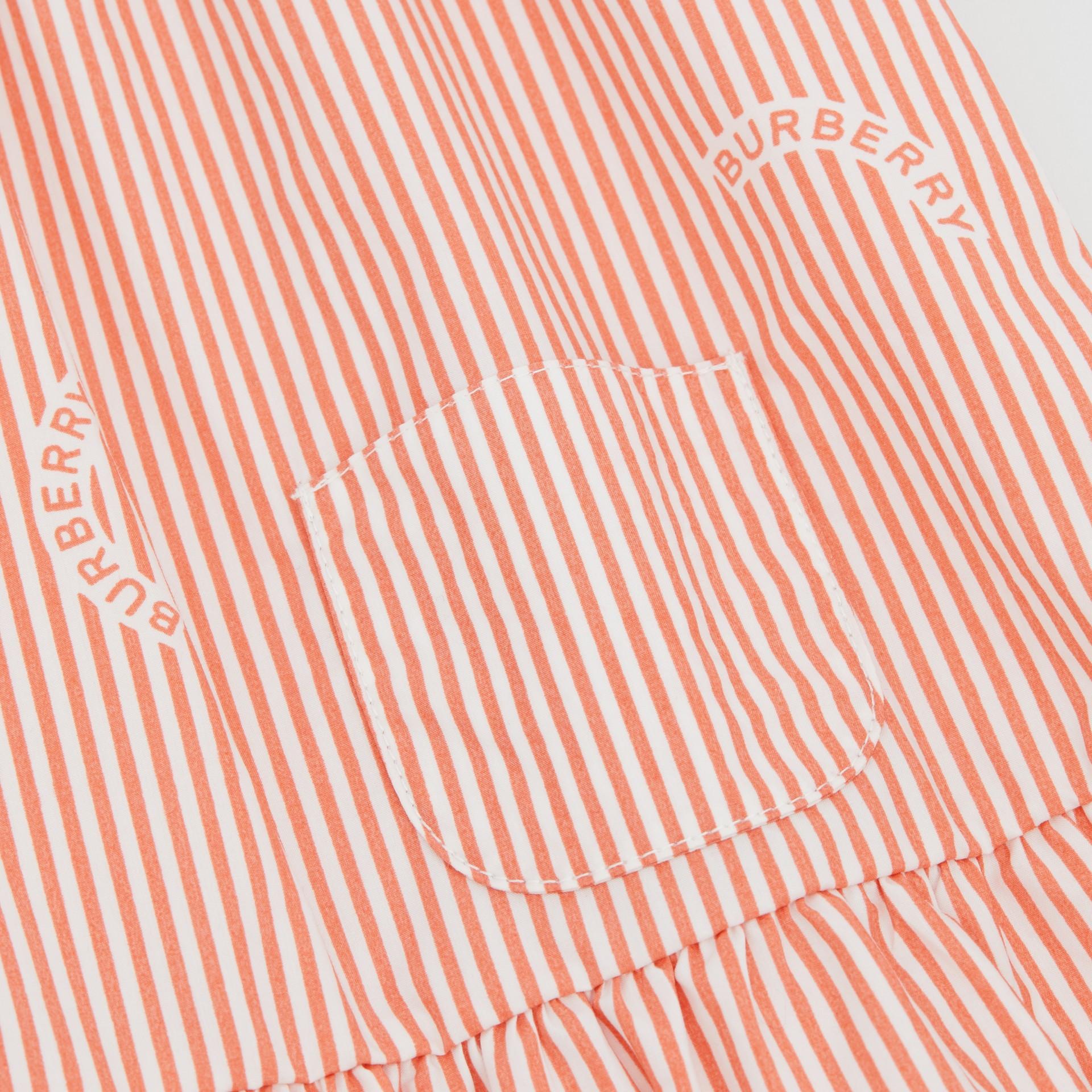 Ruched Neck Stripe Print Cotton Silk Dress in Coral Orange - Children | Burberry United Kingdom - gallery image 1