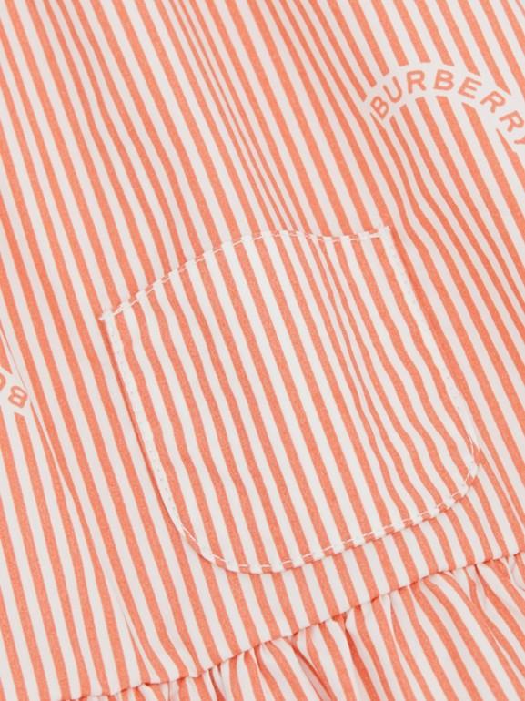 Ruched Neck Stripe Print Cotton Silk Dress in Coral Orange - Children | Burberry United Kingdom - cell image 1