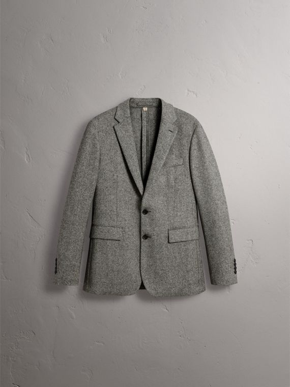 Soho Fit Herringbone Wool Tailored Jacket in Black / White - Men | Burberry Singapore - cell image 3