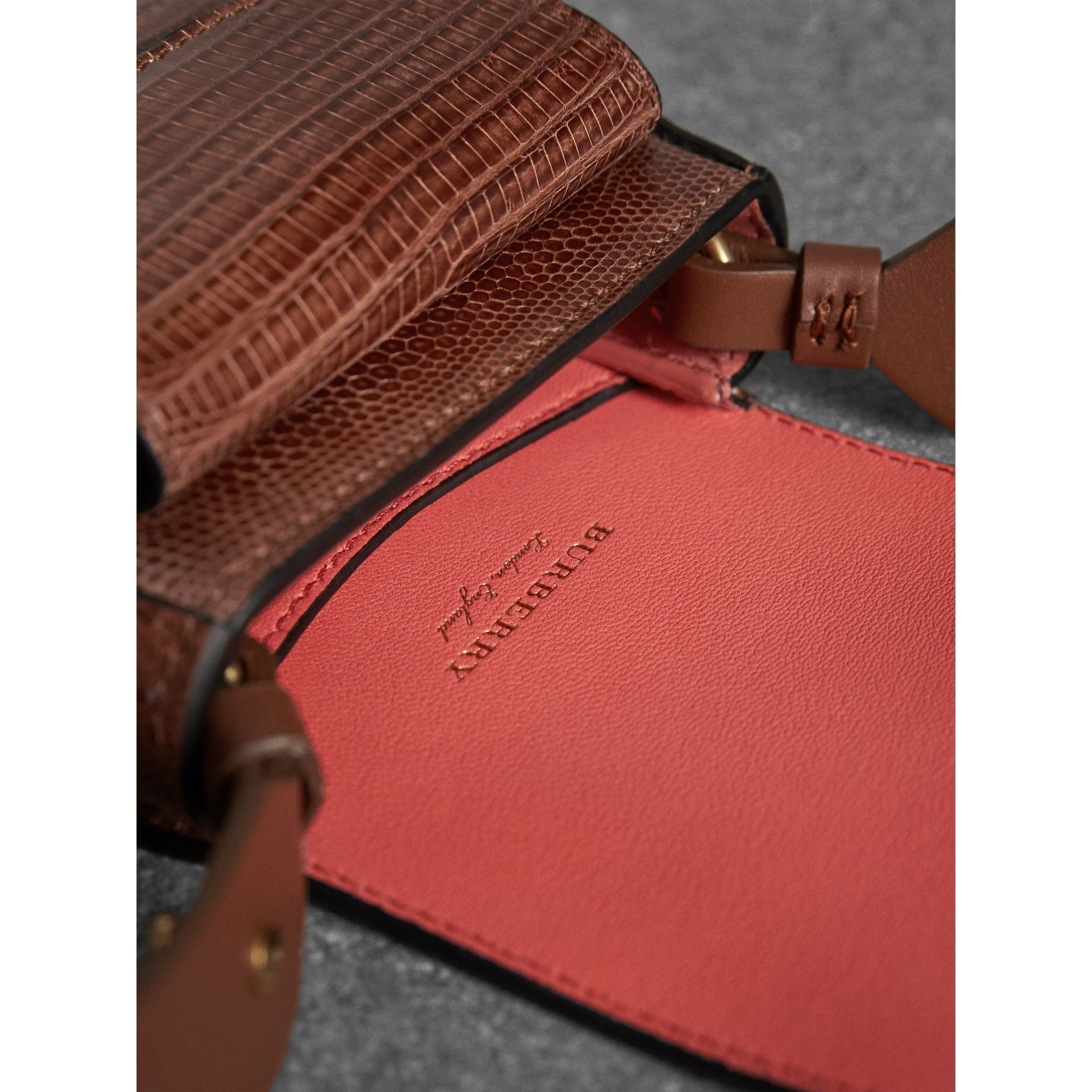 The Pocket Satchel in Lizard in Chestnut Brown - Women | Burberry Singapore - gallery image 4