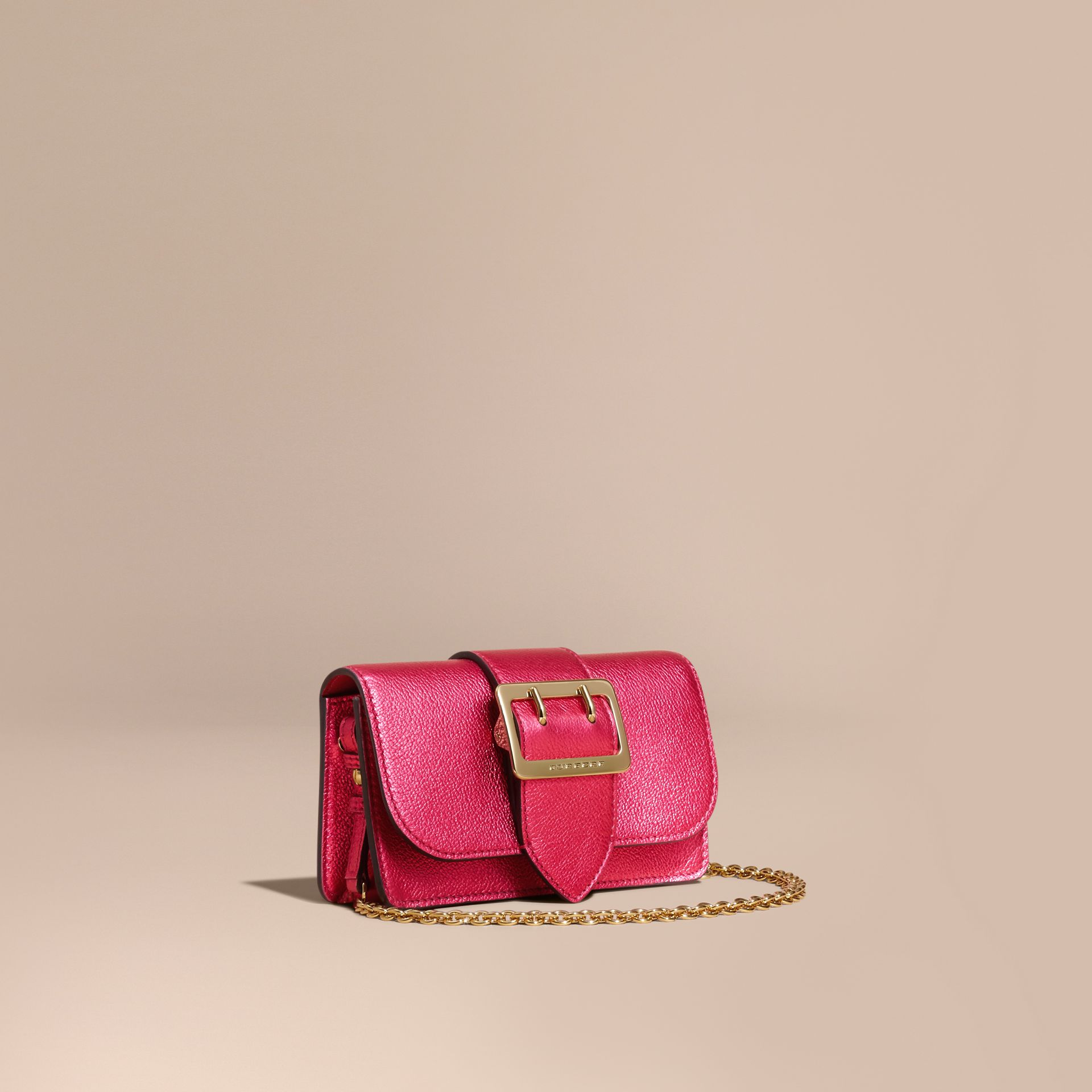 The Mini Buckle Bag in Metallic Grainy Leather in Bright Pink - gallery image 1