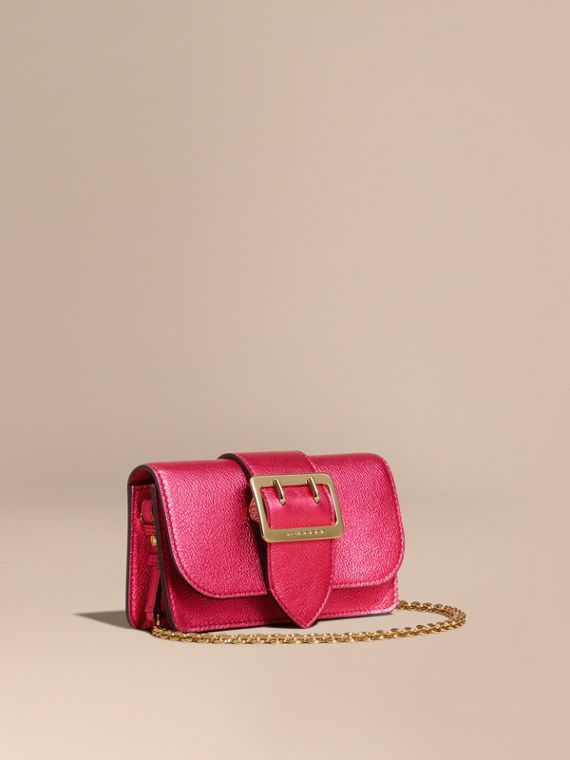 The Mini Buckle Bag in Metallic Grainy Leather Bright Pink