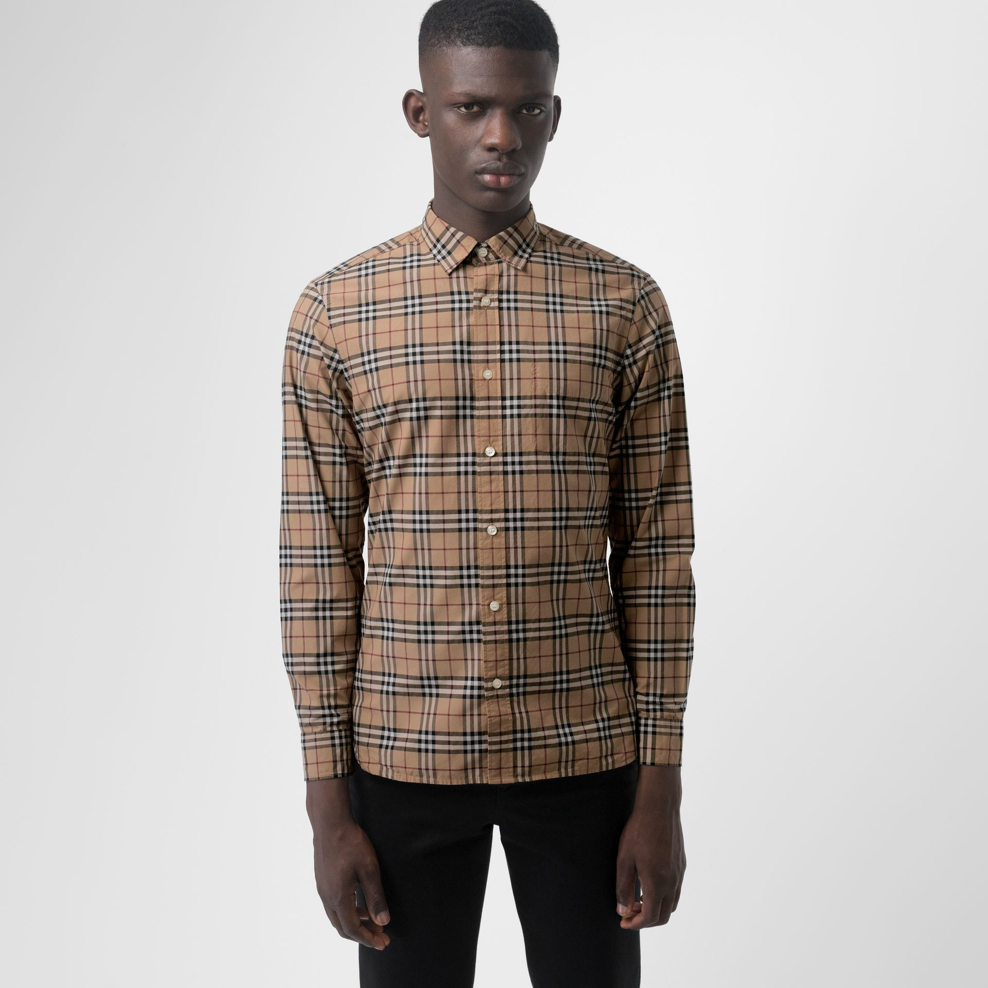 Check Cotton Shirt in Camel - Men | Burberry - gallery image 0