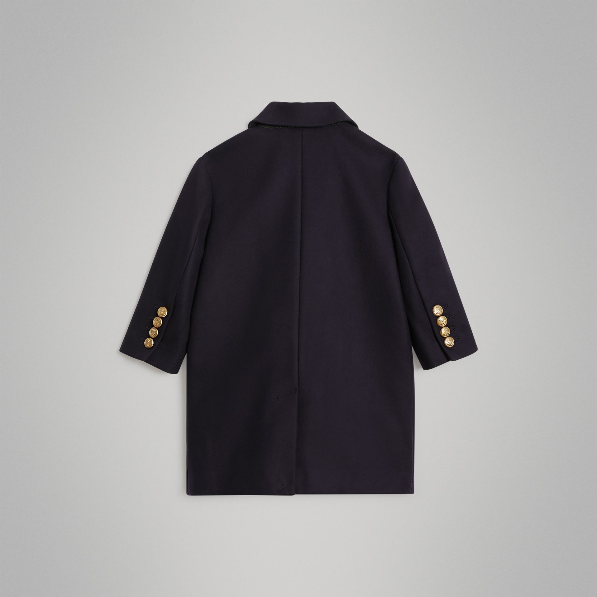 Crested Button Wool Pea Coat in Navy | Burberry Singapore - gallery image 3
