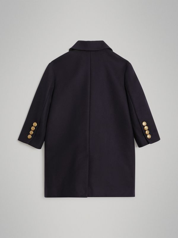 Crested Button Wool Pea Coat in Navy | Burberry Singapore - cell image 3