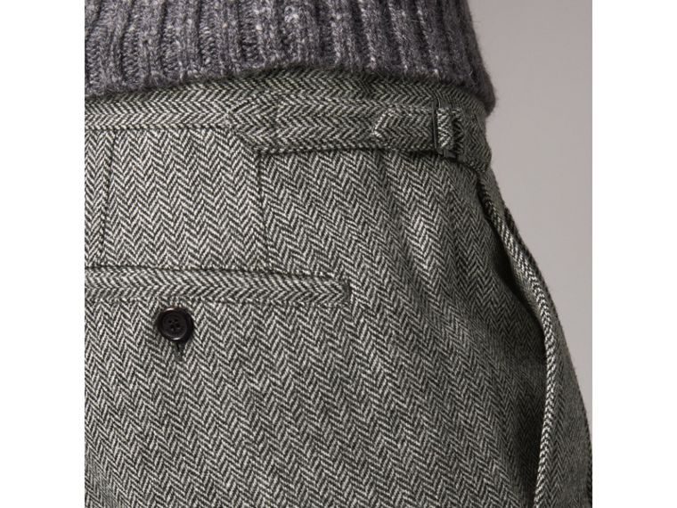 Soho Fit Herringbone Wool Trousers in Black/white - Men | Burberry - cell image 1