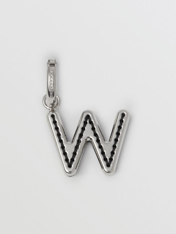 Leather-topstitched 'W' Alphabet Charm in Palladio/black