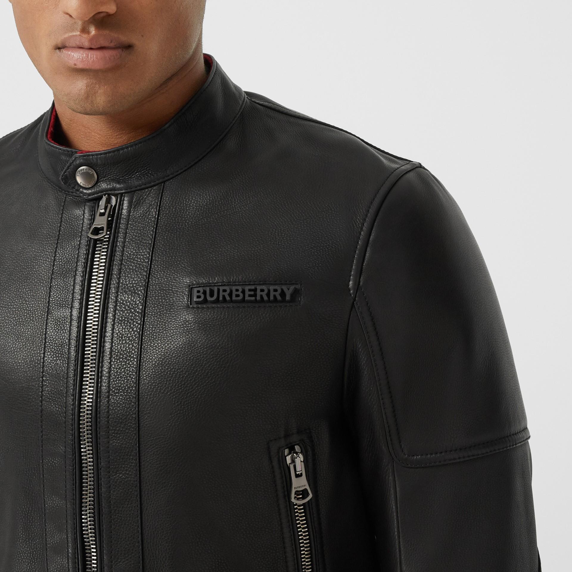 Logo Appliqué Leather Jacket in Black - Men | Burberry - gallery image 1