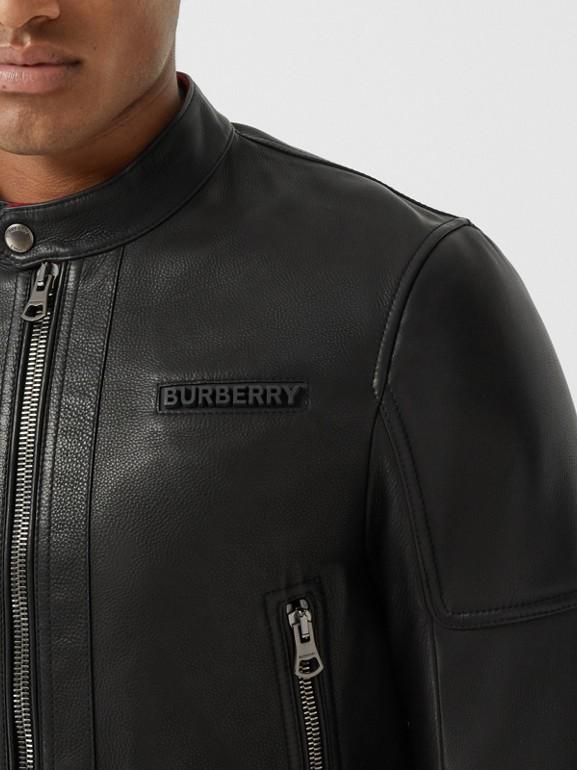 Logo Appliqué Leather Jacket in Black - Men | Burberry - cell image 1