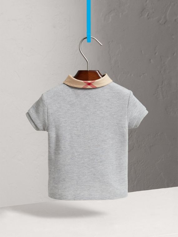 Check Collar Cotton Polo Shirt in Pale Grey Melange | Burberry United States - cell image 3