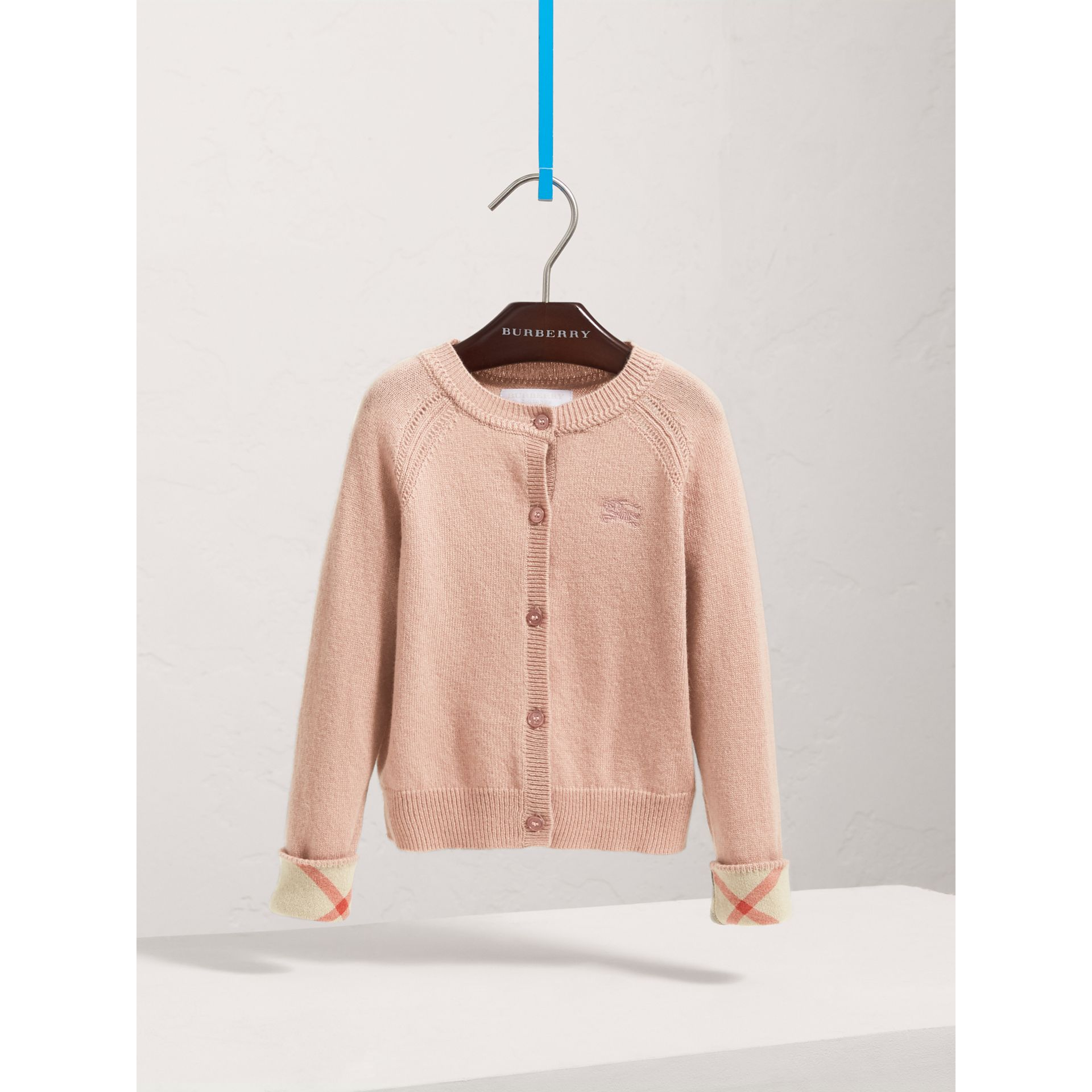 Check Detail Cashmere Cardigan in Dusty Pink - Girl | Burberry Australia - gallery image 0