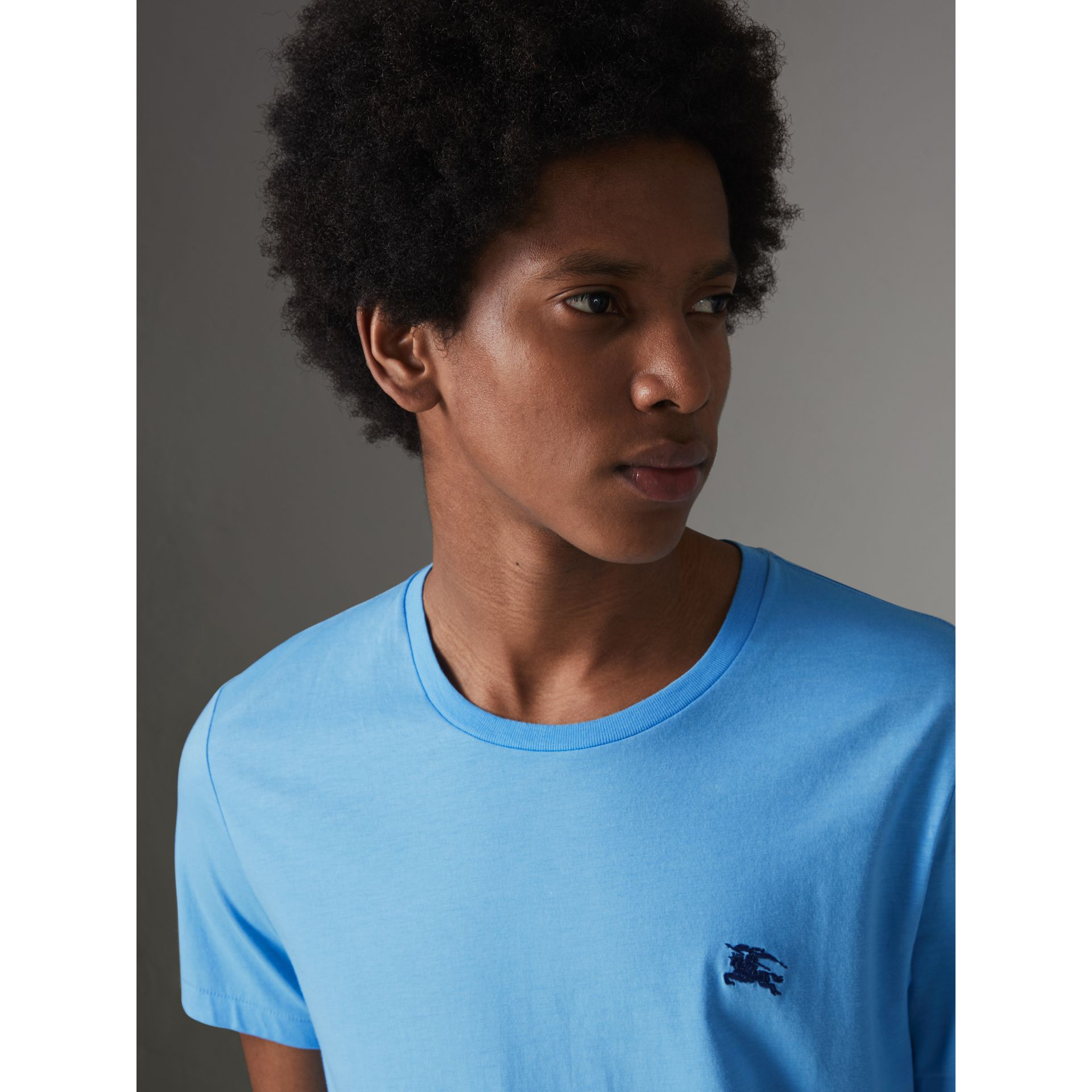 Cotton Jersey T-shirt in Blue Topaz - Men | Burberry Canada - gallery image 1